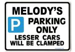 MELODY'S Personalised Parking Sign Gift | Unique Car Present for Her |  Size Large - Metal faced
